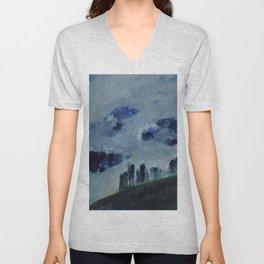 Mists in the Blue Mountains, Twilight landscape by Mikalojus Konstantinas Ciurlionis Unisex V-Neck