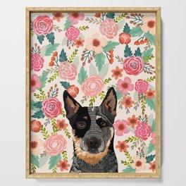 Australian Cattle Dog blue heeler floral pet portrait art print and dog gifts Serving Tray