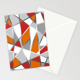 Geometric Shapes in Red, Orange and Gray Stationery Cards