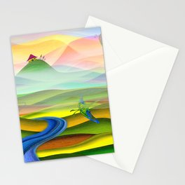 Fantasy valley naive artwork Stationery Cards
