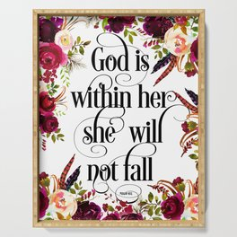 Christian Quote - God Is Within She Will Not Fall Serving Tray