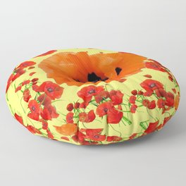 MODERN ART POPPIES GARDEN GREY DESIGN Floor Pillow