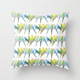 Row of Budgies Throw Pillow