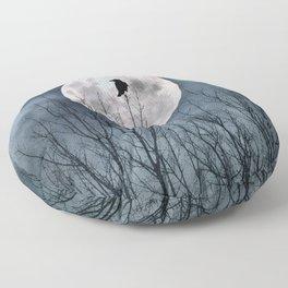 Night Raven Lit By The Full Moon Floor Pillow