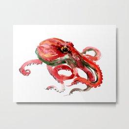 Octopus, Coral Reef, Sea world red design, red room design Metal Print