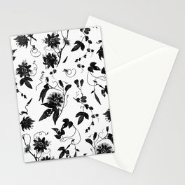 Black and White Passion Flowers Pattern Stationery Cards