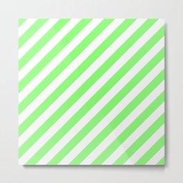 Diagonal Stripes (Light Green & White Pattern) Metal Print