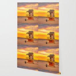 Clearwater Beach Ocean Sunrise Lifeguard Hut Yellow Sky Summer Print Wallpaper
