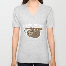Mama Sloth Unisex V-Neck