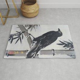 Kawanabe Kyosai - Crow On A Bamboo Branch - Digital Remastered Edition Rug
