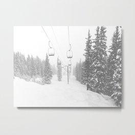 Empty Chairlift // Alone on the Mountain at Copper Whiteout Conditions Foggy Snowfall Metal Print