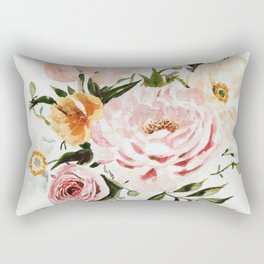 Loose Peonies & Poppies Floral Bouquet Rectangular Pillow