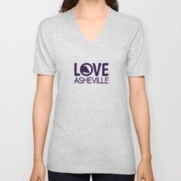 LOVE ASHEVILLE - AVL 13 PURPLE Unisex V-Neck