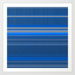 Bright Blues with Grey Stripes Art Print