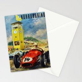 1957 Grand Prix Motor Racing Nurburgring Germany Vintage Advertising Poster Stationery Cards
