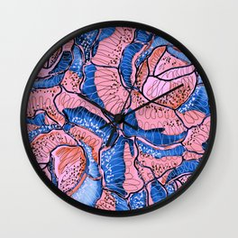 Blush Blue Roses Flowers Abstract Illustration Wall Clock