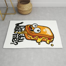 Do you want me? Funny graffiti cartoon grilled cheese sandwich Rug