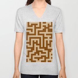 Tan Brown and Chocolate Brown Labyrinth Unisex V-Neck