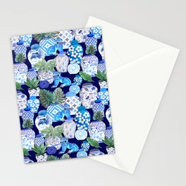 Chinoiserie Blue and white Chinese Ginger Jars and Foo dogs with palm and calathea Stationery Cards