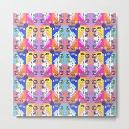 Chequered Fiesta Blue Kaleidoscope Memphis Design Metal Print