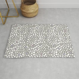 Leopard print pattern with watercolor shining dots grey white backround Rug