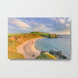 Porthor Bay at Sundown Metal Print