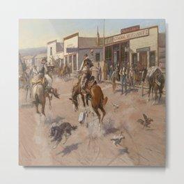C.M. Russell Vintage Western Quiet Day In Utica Metal Print