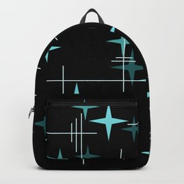 Mid Century Modern Stars Black Teal Backpack