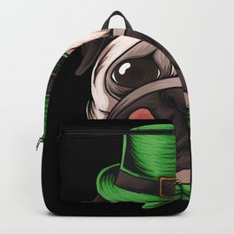 St Patricks Day Puppy Pug Backpack