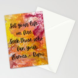 Set Your Life on Fire - Rumi Stationery Cards