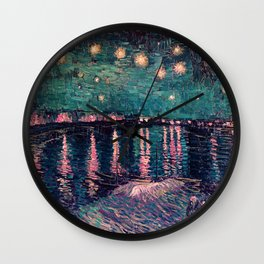 Van Gogh Starry Night over the Rhone deep pastel Wall Clock