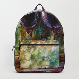 Aged Wine oil painting with palette knife Backpack