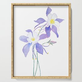 purple columbine flower Serving Tray