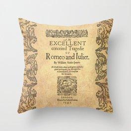 Shakespeare, Romeo and Juliet 1597 Throw Pillow