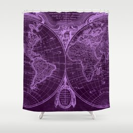 World Map (1775) Purple & Light Purple Shower Curtain