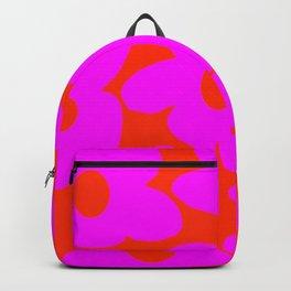 Pink Retro Flowers Orange Red Background #decor #society6 #buyart Backpack
