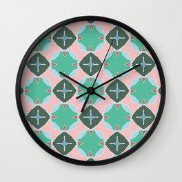 Keats green trinkets on pink Wall Clock