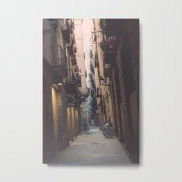 Old Town street in Barcelona Metal Print