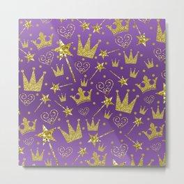 Purple & Gold Glitter Princess Metal Print