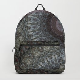 Mandala in grey and brown tones Backpack