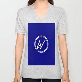 Monogram - Letter W on Navy Blue Background Unisex V-Neck