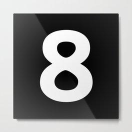 Number 8 (White & Black) Metal Print