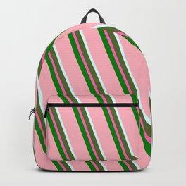 Eyecatching Light Pink, Light Cyan, Dark Olive Green, Hot Pink & Green Colored Striped Pattern Backpack
