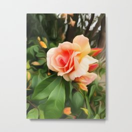 Apricot Rose - Painterly Beauty Metal Print