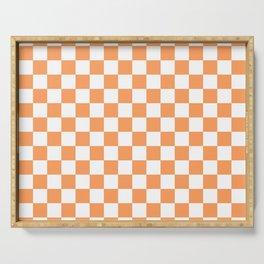 Gingham Orange Mango Checked Pattern Serving Tray