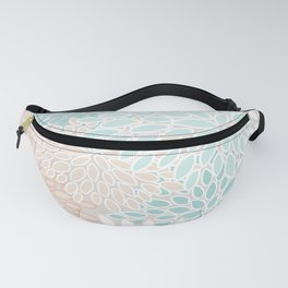 Floral Prints, Soft, Peach and Teal, Modern Print Art Fanny Pack