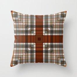 Burnt Sienna Plaid Pattern Throw Pillow