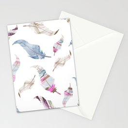 Boho Feathers Watercolour and Rose Gold Glitter Stationery Cards
