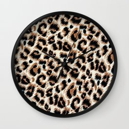 Black and Brown Spotted Leopard Animal print Skin  Wall Clock