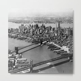 Brooklyn Bridge, Manhattan Bridge  over East River with Manhattan skyline and Hudson River in background black and white photograph Metal Print